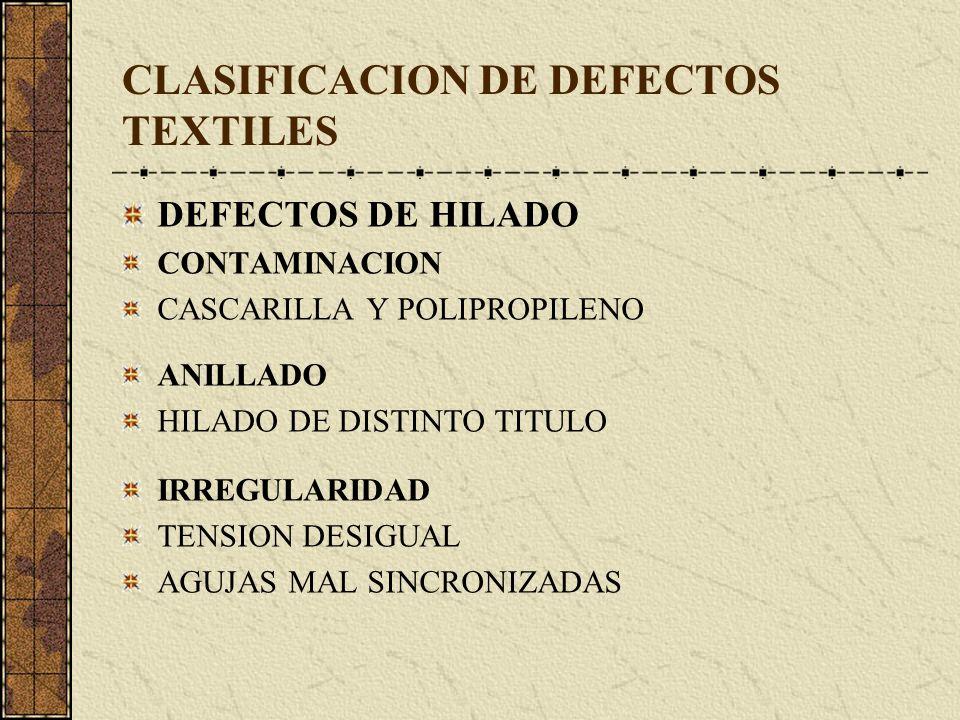 CLASIFICACION DE DEFECTOS TEXTILES DEFECTOS DE HILADO CONTAMINACION CASCARILLA Y POLIPROPILENO ANILLADO HILADO DE DISTINTO TITULO IRREGULARIDAD TENSION DESIGUAL AGUJAS MAL SINCRONIZADAS