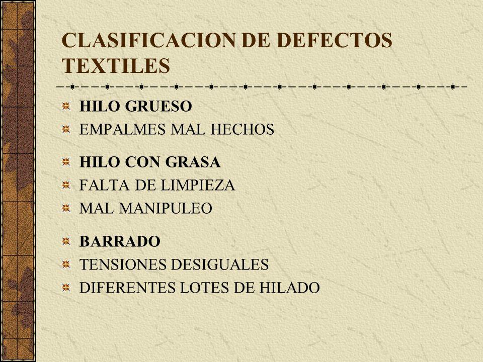 CLASIFICACION DE DEFECTOS TEXTILES HILO GRUESO EMPALMES MAL HECHOS HILO CON GRASA FALTA DE LIMPIEZA MAL MANIPULEO BARRADO TENSIONES DESIGUALES DIFERENTES LOTES DE HILADO