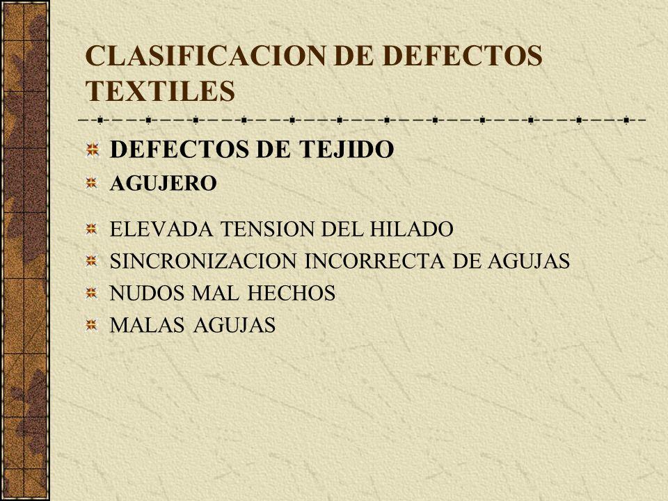 CLASIFICACION DE DEFECTOS TEXTILES DEFECTOS DE TEJIDO AGUJERO ELEVADA TENSION DEL HILADO SINCRONIZACION INCORRECTA DE AGUJAS NUDOS MAL HECHOS MALAS AGUJAS