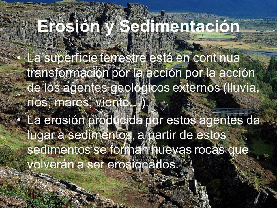 Erosión y Sedimentación La superficie terrestre está en continua transformación por la acción por la acción de los agentes geológicos externos (lluvia, ríos, mares, viento…).