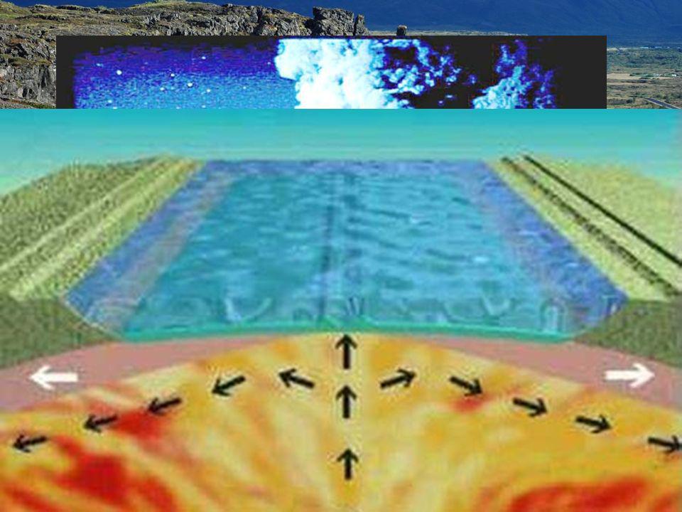 La explicación a todos estos fenómenos es la llamada: Teoría de la expansión del fondo oceánico: –A través de la dorsal (que tiene actividad volcánica) sale lava que al solidificarse crea nuevo suelo oceánico que hace que el océano se expanda.
