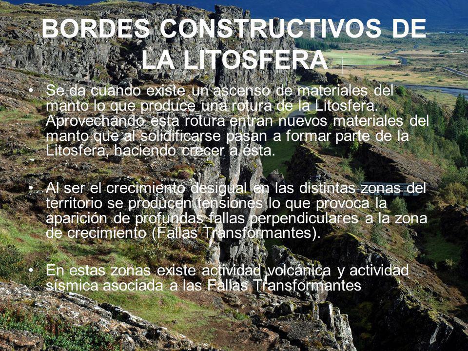 BORDES CONSTRUCTIVOS DE LA LITOSFERA Se da cuando existe un ascenso de materiales del manto lo que produce una rotura de la Litosfera.