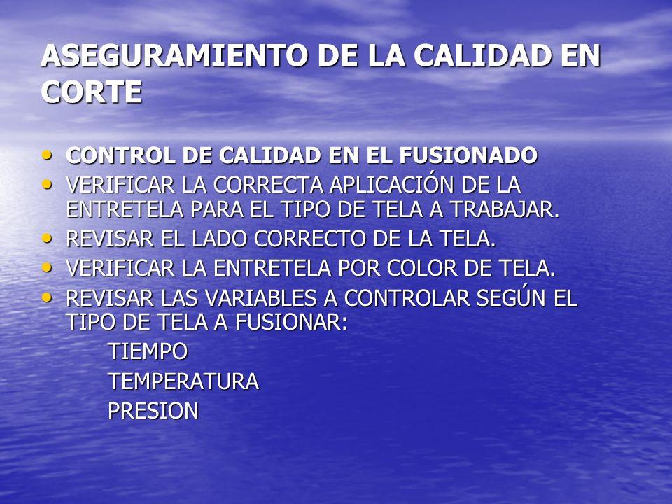 ASEGURAMIENTO DE LA CALIDAD EN CORTE CONTROL DE CALIDAD EN EL FUSIONADO CONTROL DE CALIDAD EN EL FUSIONADO VERIFICAR LA CORRECTA APLICACIÓN DE LA ENTR