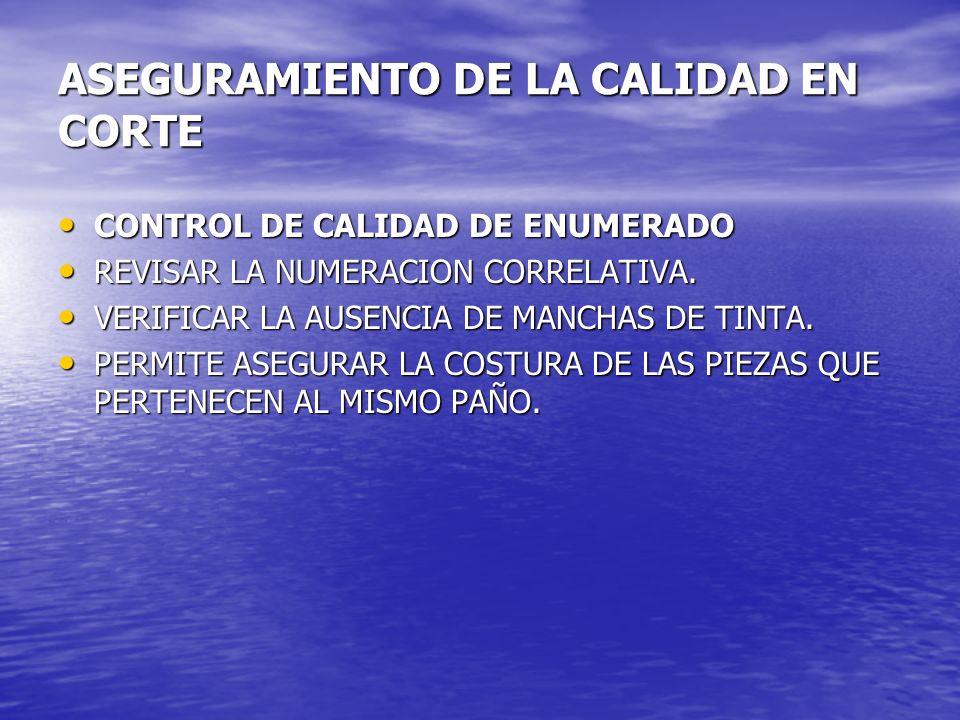 ASEGURAMIENTO DE LA CALIDAD EN CORTE CONTROL DE CALIDAD DE ENUMERADO CONTROL DE CALIDAD DE ENUMERADO REVISAR LA NUMERACION CORRELATIVA. REVISAR LA NUM