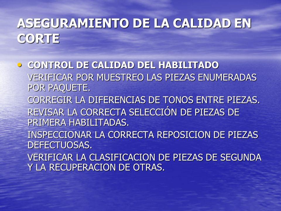 ASEGURAMIENTO DE LA CALIDAD EN CORTE CONTROL DE CALIDAD DEL HABILITADO CONTROL DE CALIDAD DEL HABILITADO VERIFICAR POR MUESTREO LAS PIEZAS ENUMERADAS