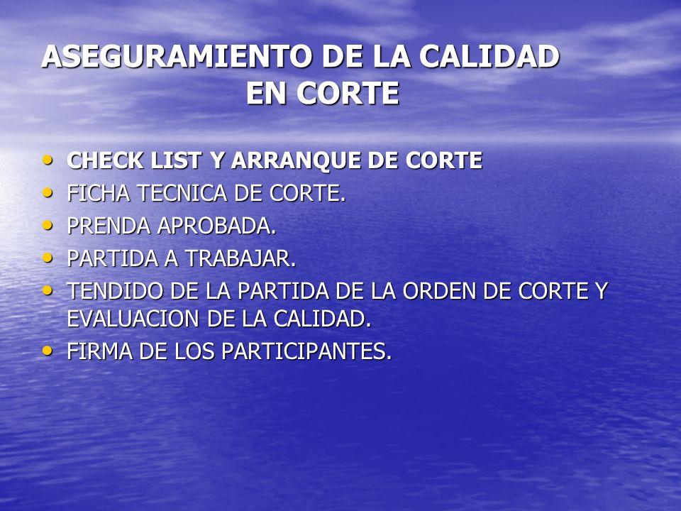 ASEGURAMIENTO DE LA CALIDAD EN CORTE CHECK LIST Y ARRANQUE DE CORTE CHECK LIST Y ARRANQUE DE CORTE FICHA TECNICA DE CORTE. FICHA TECNICA DE CORTE. PRE