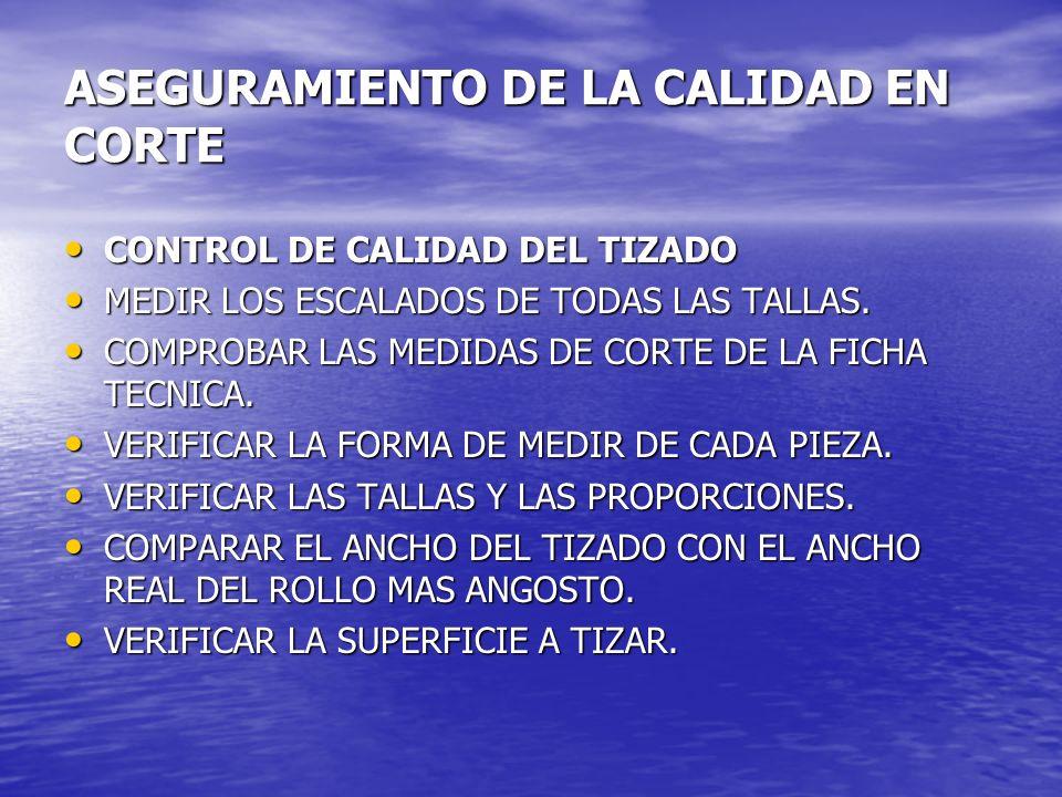 ASEGURAMIENTO DE LA CALIDAD EN CORTE CONTROL DE CALIDAD DEL TIZADO CONTROL DE CALIDAD DEL TIZADO MEDIR LOS ESCALADOS DE TODAS LAS TALLAS. MEDIR LOS ES