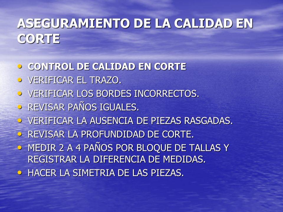 ASEGURAMIENTO DE LA CALIDAD EN CORTE CONTROL DE CALIDAD EN CORTE CONTROL DE CALIDAD EN CORTE VERIFICAR EL TRAZO. VERIFICAR EL TRAZO. VERIFICAR LOS BOR