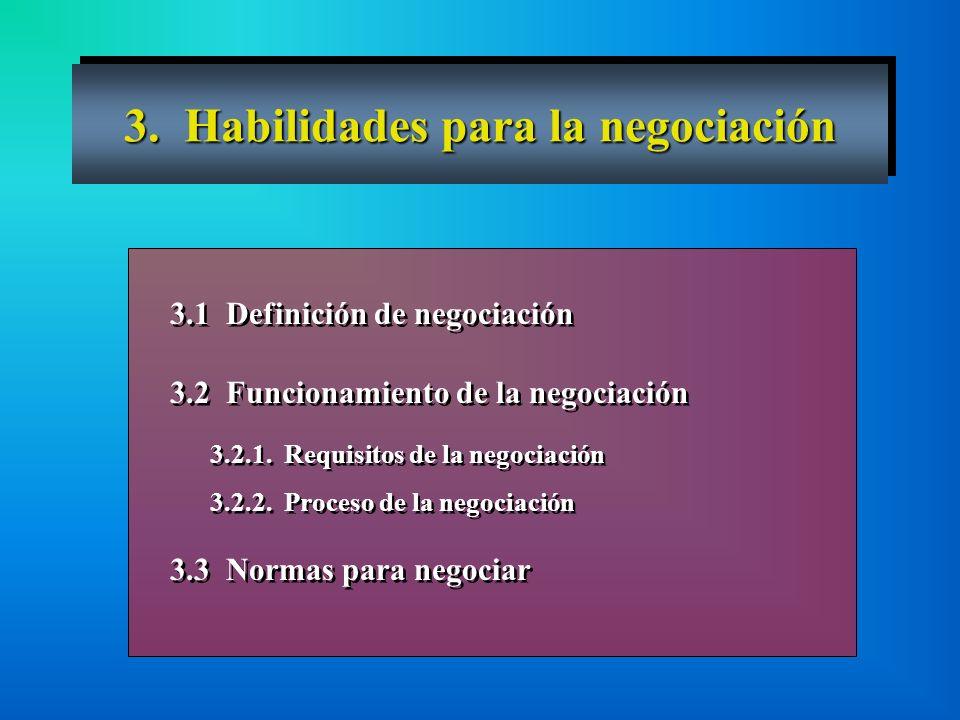 3. Habilidades para la negociación 3.1 Definición de negociación 3.2 Funcionamiento de la negociación 3.2.1. Requisitos de la negociación 3.2.2. Proce