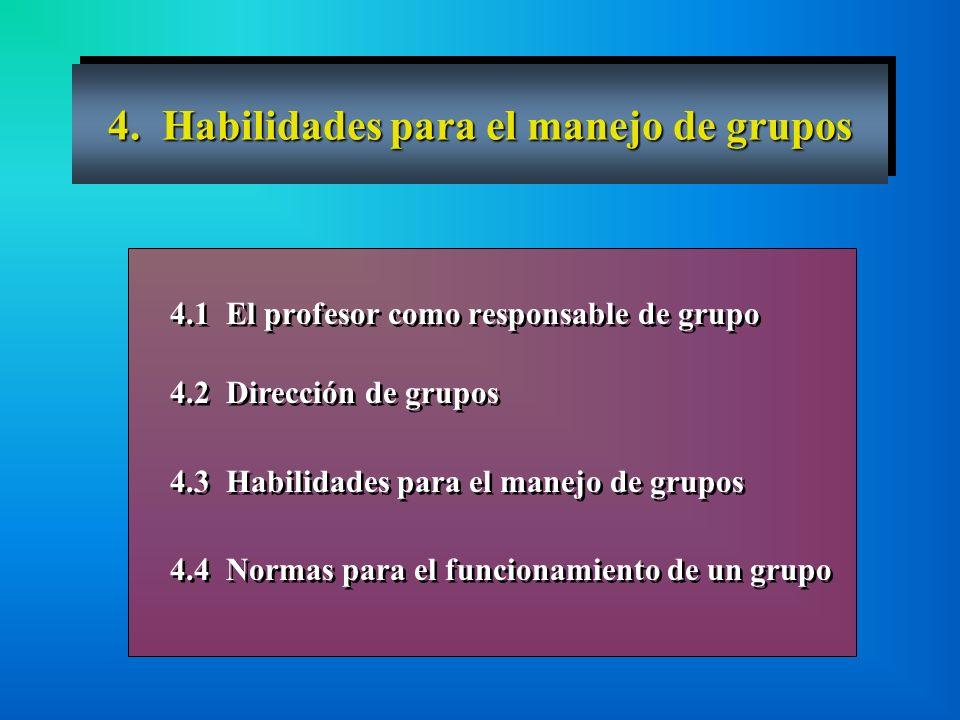 4. Habilidades para el manejo de grupos 4.1 El profesor como responsable de grupo 4.2 Dirección de grupos 4.3 Habilidades para el manejo de grupos 4.4