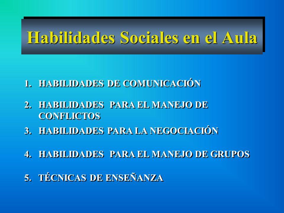 1. HABILIDADES DE COMUNICACIÓN 2. HABILIDADES PARA EL MANEJO DE CONFLICTOS 3. HABILIDADES PARA LA NEGOCIACIÓN 4. HABILIDADES PARA EL MANEJO DE GRUPOS