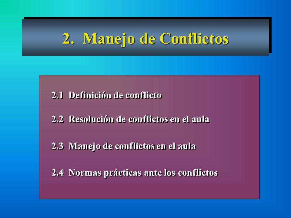2. Manejo de Conflictos 2.1 Definición de conflicto 2.2 Resolución de conflictos en el aula 2.3 Manejo de conflictos en el aula 2.4 Normas prácticas a