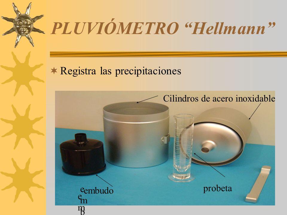 PLUVIÓMETRO Hellmann Registra las precipitaciones probeta Cilindros de acero inoxidable embudoembudo embudembud embudo