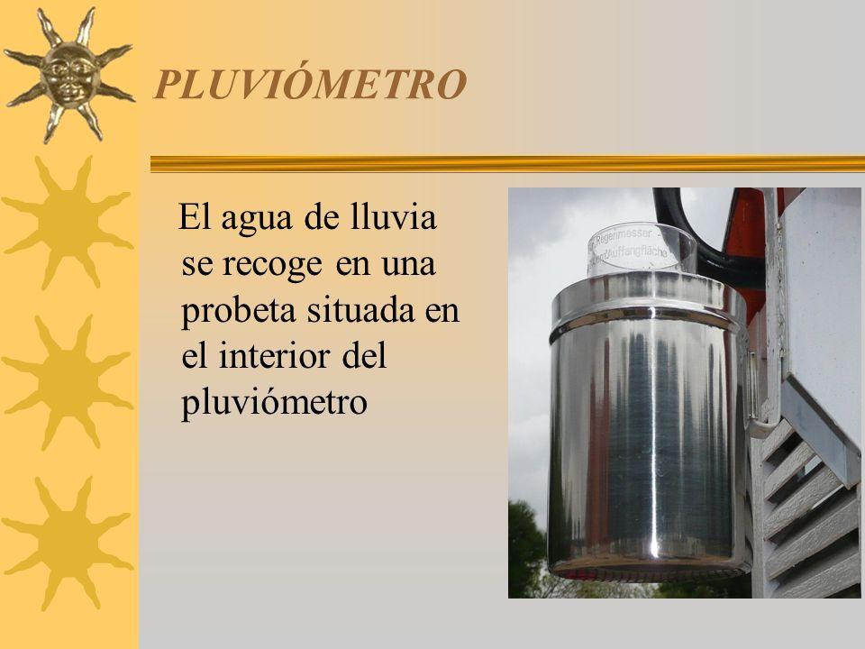 PLUVIÓMETRO El agua de lluvia se recoge en una probeta situada en el interior del pluviómetro