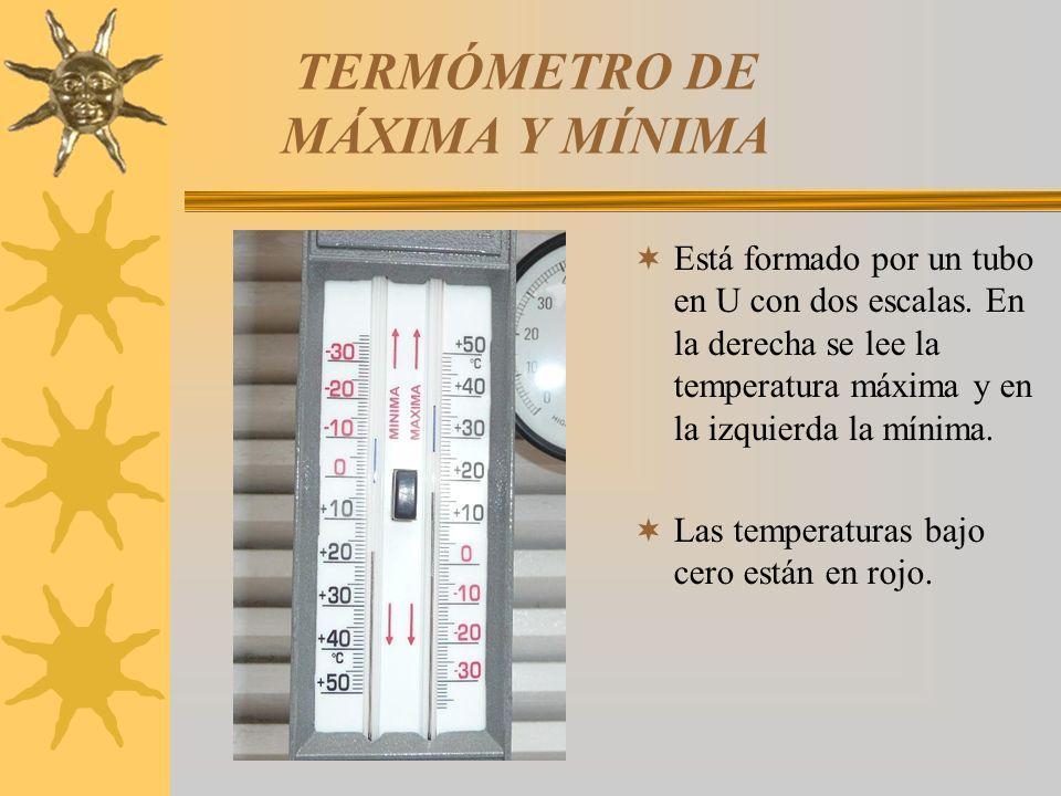 TERMÓMETRO DE MÁXIMA Y MÍNIMA Está formado por un tubo en U con dos escalas. En la derecha se lee la temperatura máxima y en la izquierda la mínima. L