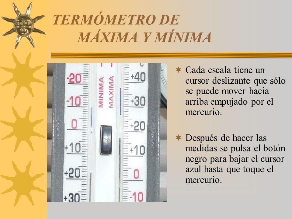 TERMÓMETRO DE MÁXIMA Y MÍNIMA Cada escala tiene un cursor deslizante que sólo se puede mover hacia arriba empujado por el mercurio. Después de hacer l