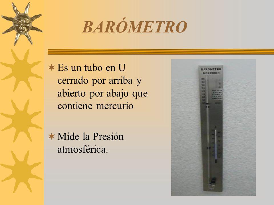 BARÓMETRO Es un tubo en U cerrado por arriba y abierto por abajo que contiene mercurio Mide la Presión atmosférica.