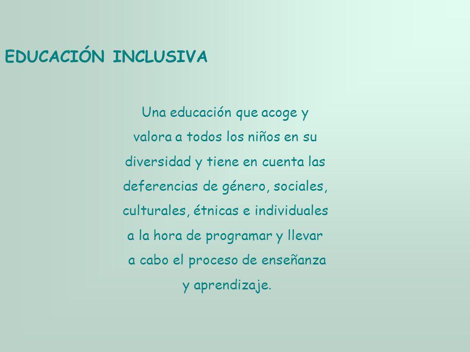 EDUCACIÓN INCLUSIVA Una educación que acoge y valora a todos los niños en su diversidad y tiene en cuenta las deferencias de género, sociales, cultura