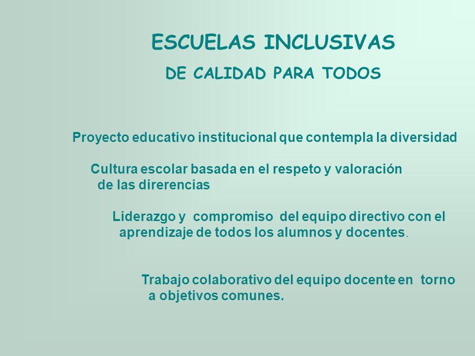 ESCUELAS INCLUSIVAS DE CALIDAD PARA TODOS Proyecto educativo institucional que contempla la diversidad Cultura escolar basada en el respeto y valoraci