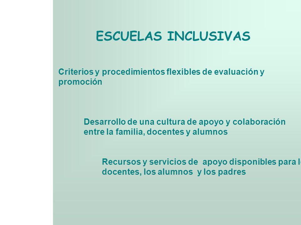 ESCUELAS INCLUSIVAS Criterios y procedimientos flexibles de evaluación y promoción Desarrollo de una cultura de apoyo y colaboración entre la familia,