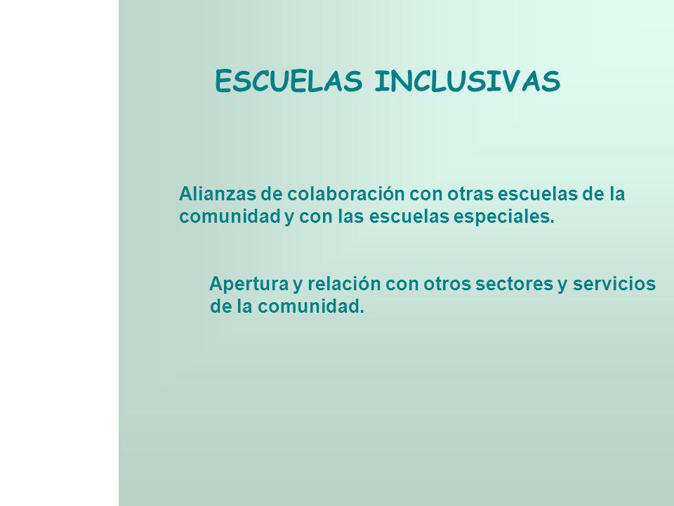 ESCUELAS INCLUSIVAS Alianzas de colaboración con otras escuelas de la comunidad y con las escuelas especiales. Apertura y relación con otros sectores