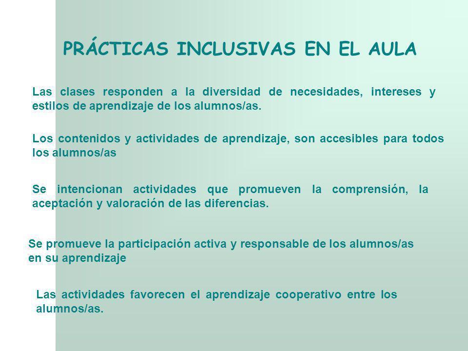 Los contenidos y actividades de aprendizaje, son accesibles para todos los alumnos/as Se intencionan actividades que promueven la comprensión, la acep