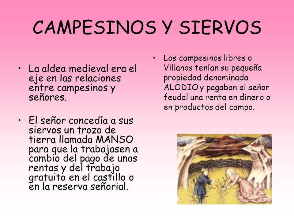 CAMPESINOS Y SIERVOS La aldea medieval era el eje en las relaciones entre campesinos y señores.