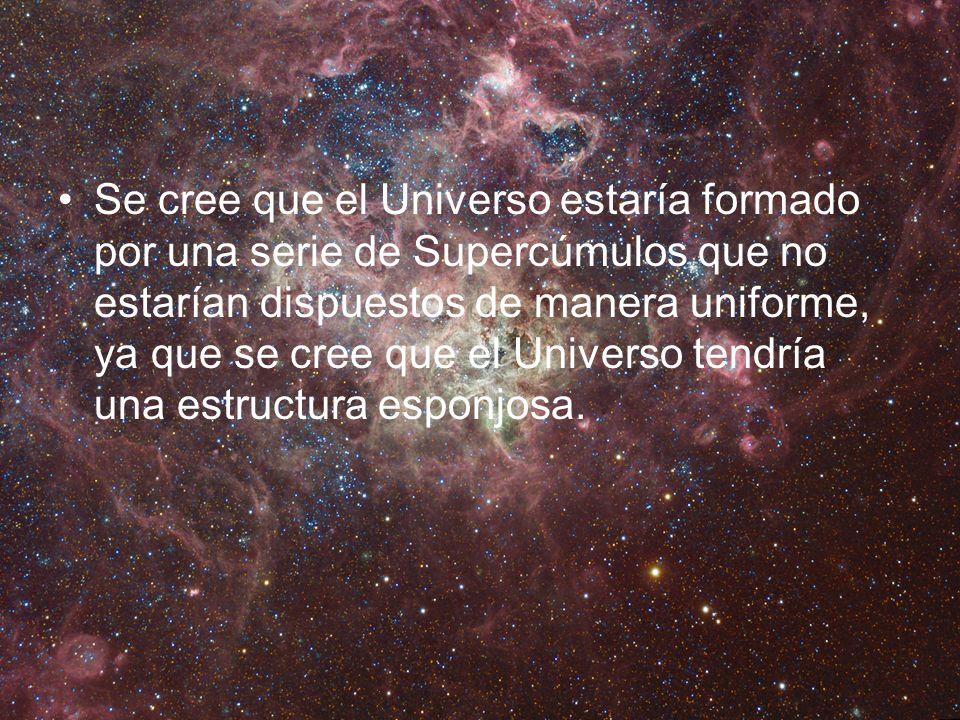 Se cree que el Universo estaría formado por una serie de Supercúmulos que no estarían dispuestos de manera uniforme, ya que se cree que el Universo te
