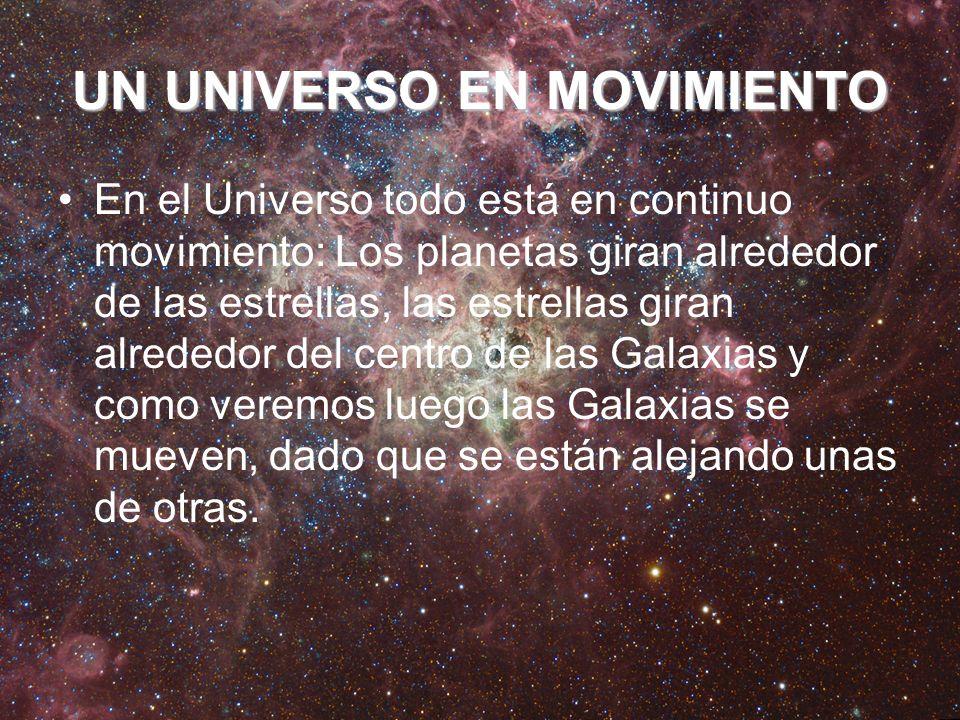 UN UNIVERSO EN MOVIMIENTO En el Universo todo está en continuo movimiento: Los planetas giran alrededor de las estrellas, las estrellas giran alrededo