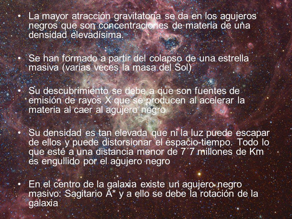 La mayor atracción gravitatoria se da en los agujeros negros que son concentraciones de materia de una densidad elevadísima. Se han formado a partir d