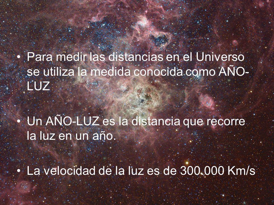Para medir las distancias en el Universo se utiliza la medida conocida como AÑO- LUZ Un AÑO-LUZ es la distancia que recorre la luz en un año. La veloc