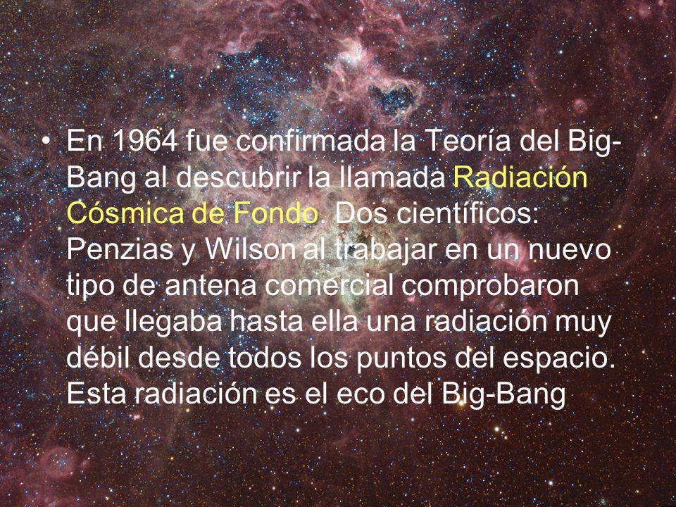 En 1964 fue confirmada la Teoría del Big- Bang al descubrir la llamada Radiación Cósmica de Fondo. Dos científicos: Penzias y Wilson al trabajar en un
