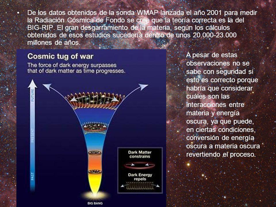De los datos obtenidos de la sonda WMAP lanzada el año 2001 para medir la Radiación Cósmica de Fondo se cree que la teoría correcta es la del BIG-RIP.