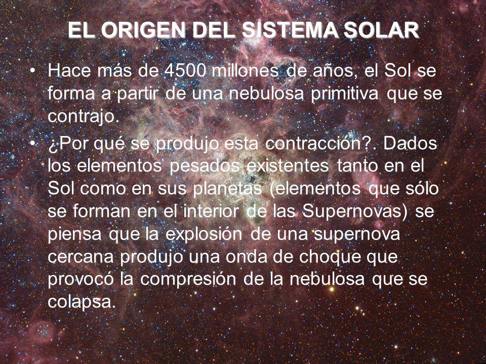 EL ORIGEN DEL SISTEMA SOLAR Hace más de 4500 millones de años, el Sol se forma a partir de una nebulosa primitiva que se contrajo. ¿Por qué se produjo