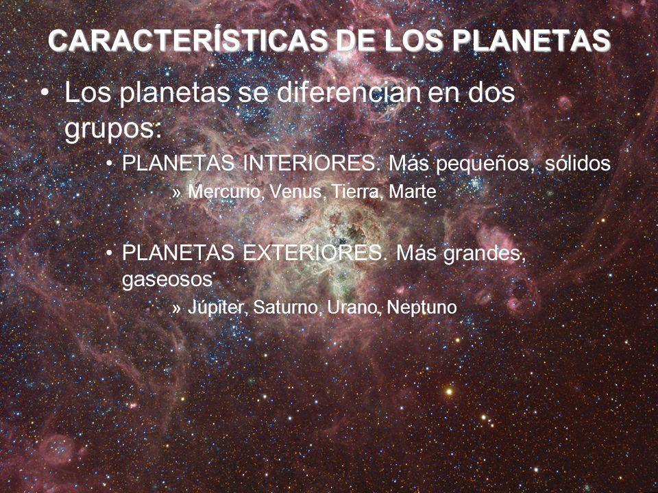 CARACTERÍSTICAS DE LOS PLANETAS Los planetas se diferencian en dos grupos: PLANETAS INTERIORES. Más pequeños, sólidos »Mercurio, Venus, Tierra, Marte
