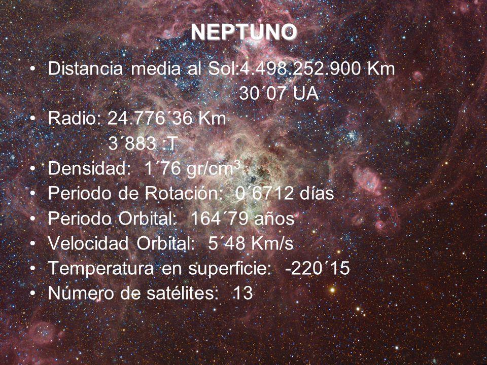 NEPTUNO Distancia media al Sol:4.498.252.900 Km 30´07 UA Radio: 24.776´36 Km 3´883 :T Densidad: 1´76 gr/cm 3 Periodo de Rotación: 0´6712 días Periodo