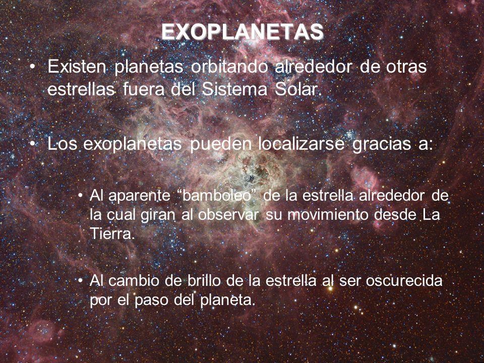 EXOPLANETAS Existen planetas orbitando alrededor de otras estrellas fuera del Sistema Solar. Los exoplanetas pueden localizarse gracias a: Al aparente