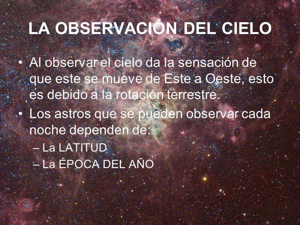 LA OBSERVACIÓN DEL CIELO Al observar el cielo da la sensación de que este se mueve de Este a Oeste, esto es debido a la rotación terrestre. Los astros