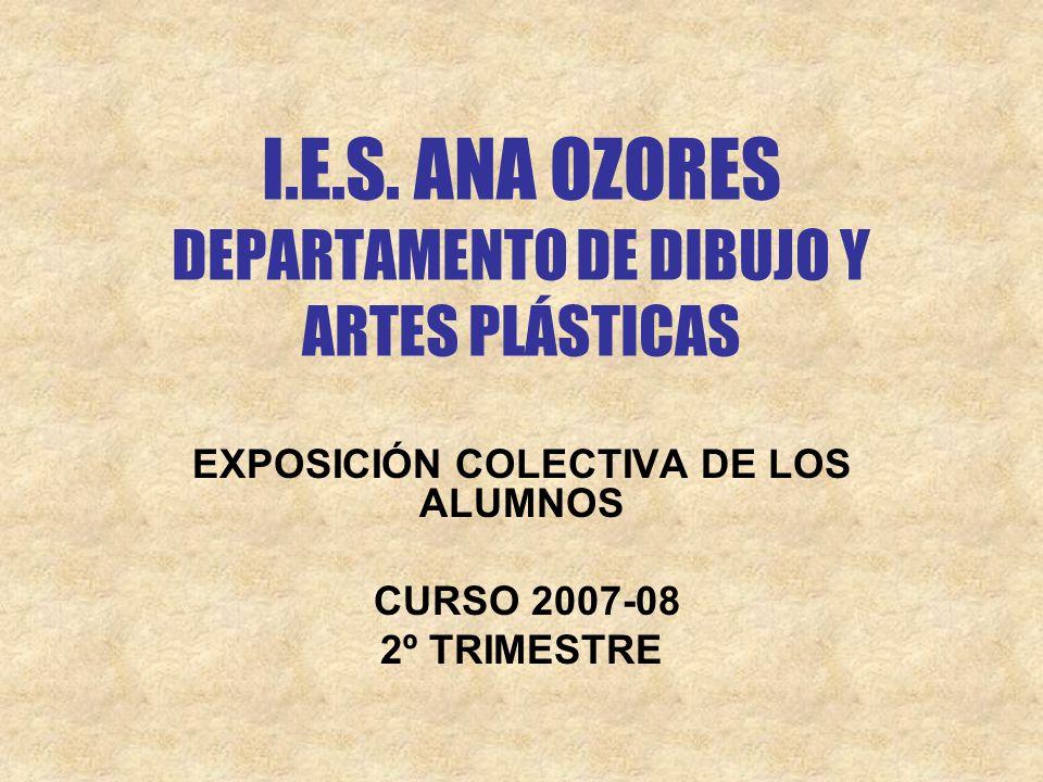 I.E.S. ANA OZORES DEPARTAMENTO DE DIBUJO Y ARTES PLÁSTICAS EXPOSICIÓN COLECTIVA DE LOS ALUMNOS CURSO 2007-08 2º TRIMESTRE