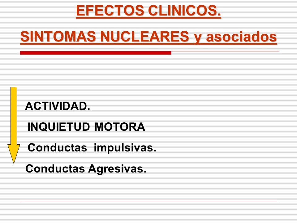 EFECTOS CLINICOS. SINTOMAS NUCLEARES y asociados ACTIVIDAD. INQUIETUD MOTORA Conductas impulsivas. Conductas Agresivas.