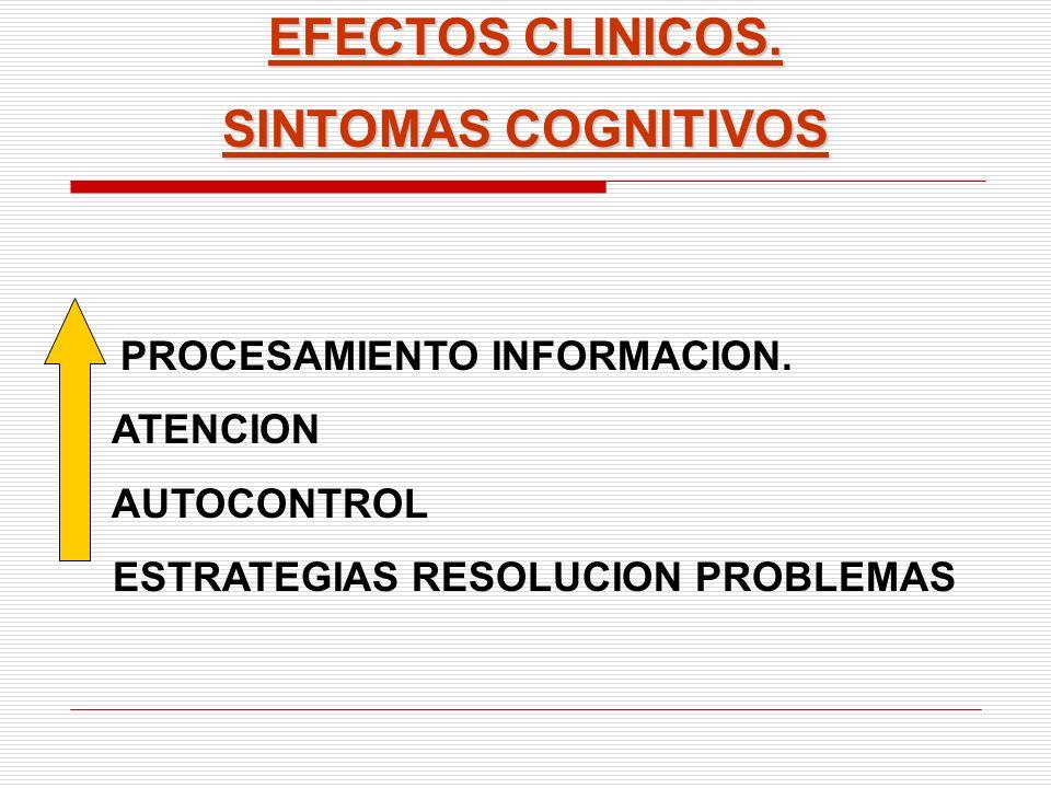 EFECTOS CLINICOS. SINTOMAS COGNITIVOS PROCESAMIENTO INFORMACION. ATENCION AUTOCONTROL ESTRATEGIAS RESOLUCION PROBLEMAS