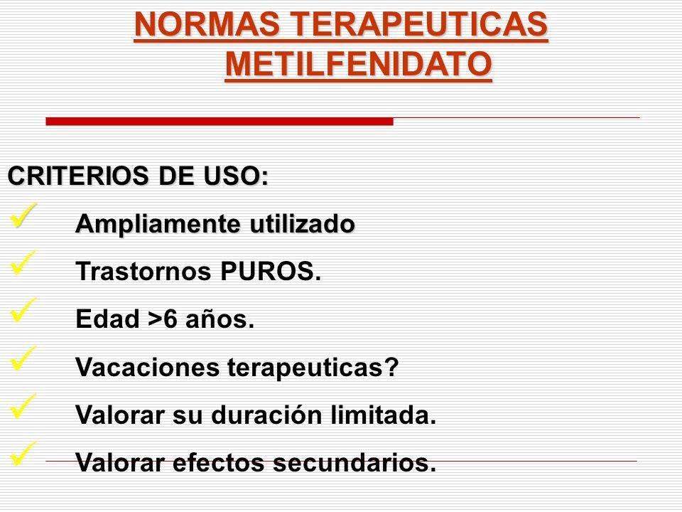NORMAS TERAPEUTICAS METILFENIDATO CRITERIOS DE USO: Ampliamente utilizado Ampliamente utilizado Trastornos PUROS. Edad >6 años. Vacaciones terapeutica