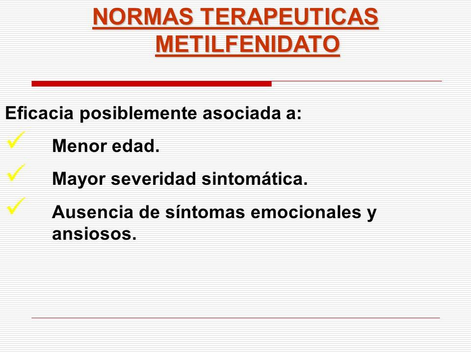 NORMAS TERAPEUTICAS METILFENIDATO Eficacia posiblemente asociada a: Menor edad. Mayor severidad sintomática. Ausencia de síntomas emocionales y ansios