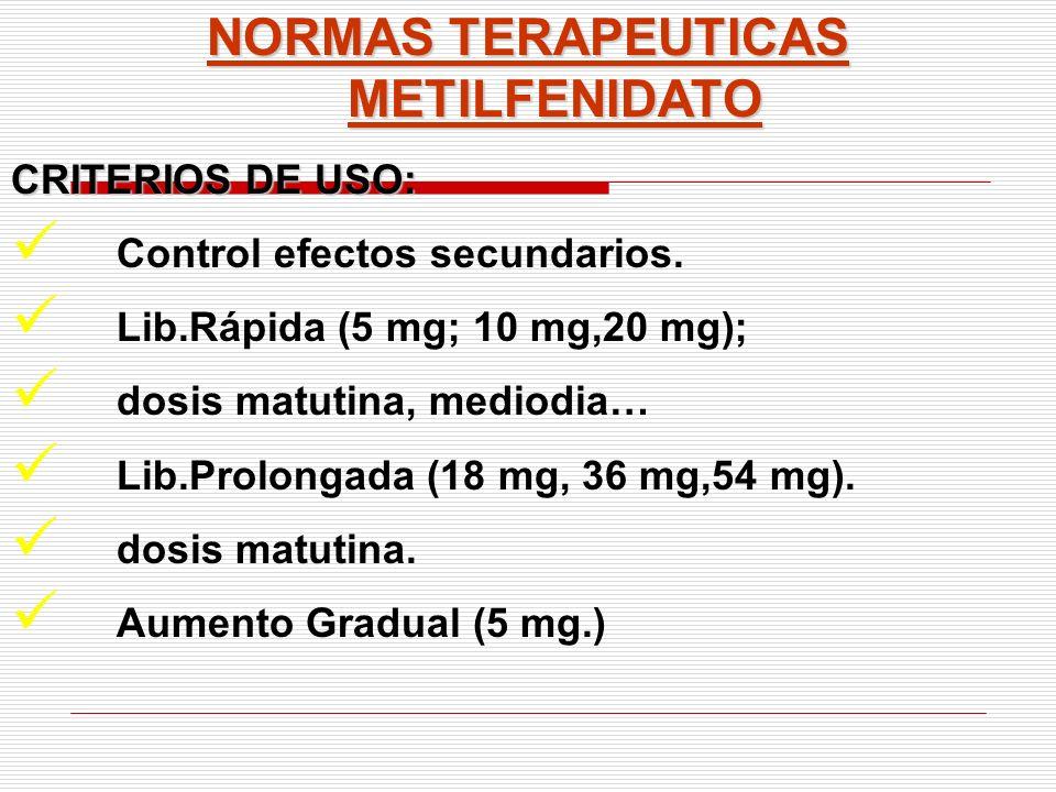 NORMAS TERAPEUTICAS METILFENIDATO CRITERIOS DE USO: Control efectos secundarios. Lib.Rápida (5 mg; 10 mg,20 mg); dosis matutina, mediodia… Lib.Prolong
