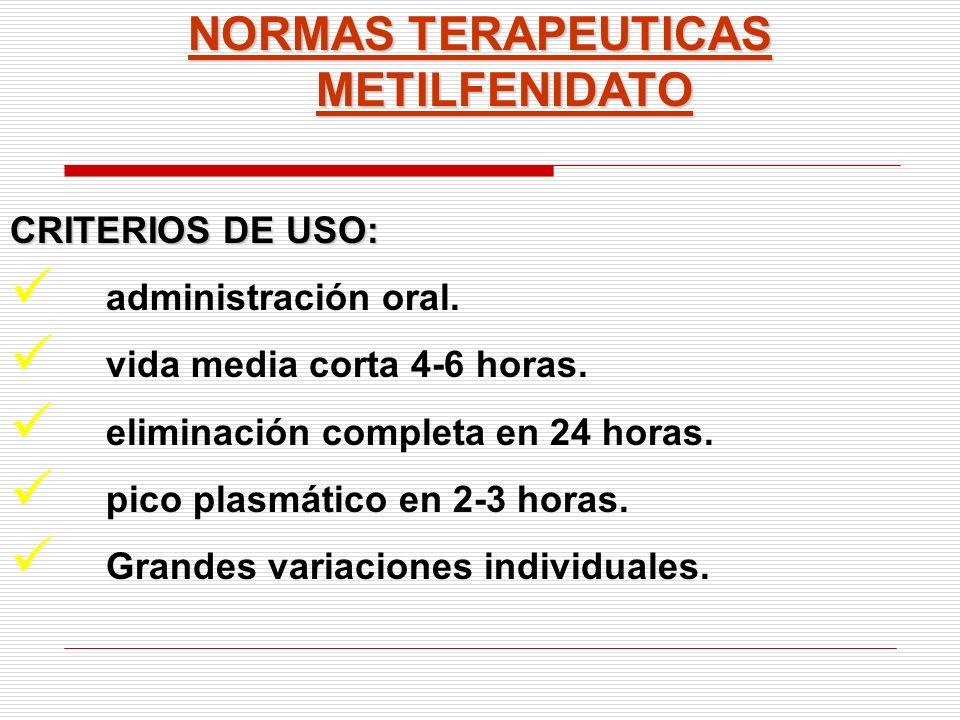 NORMAS TERAPEUTICAS METILFENIDATO CRITERIOS DE USO: administración oral. vida media corta 4-6 horas. eliminación completa en 24 horas. pico plasmático