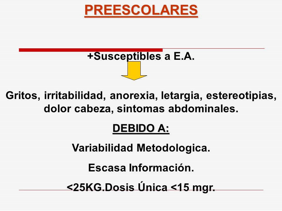 PREESCOLARES +Susceptibles a E.A. Gritos, irritabilidad, anorexia, letargia, estereotipias, dolor cabeza, sintomas abdominales. DEBIDO A: Variabilidad