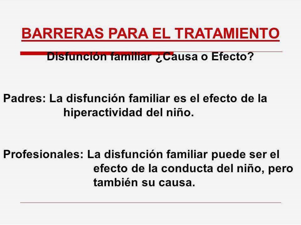 BARRERAS PARA EL TRATAMIENTO Disfunción familiar ¿Causa o Efecto? Padres: La disfunción familiar es el efecto de la hiperactividad del niño. Profesion