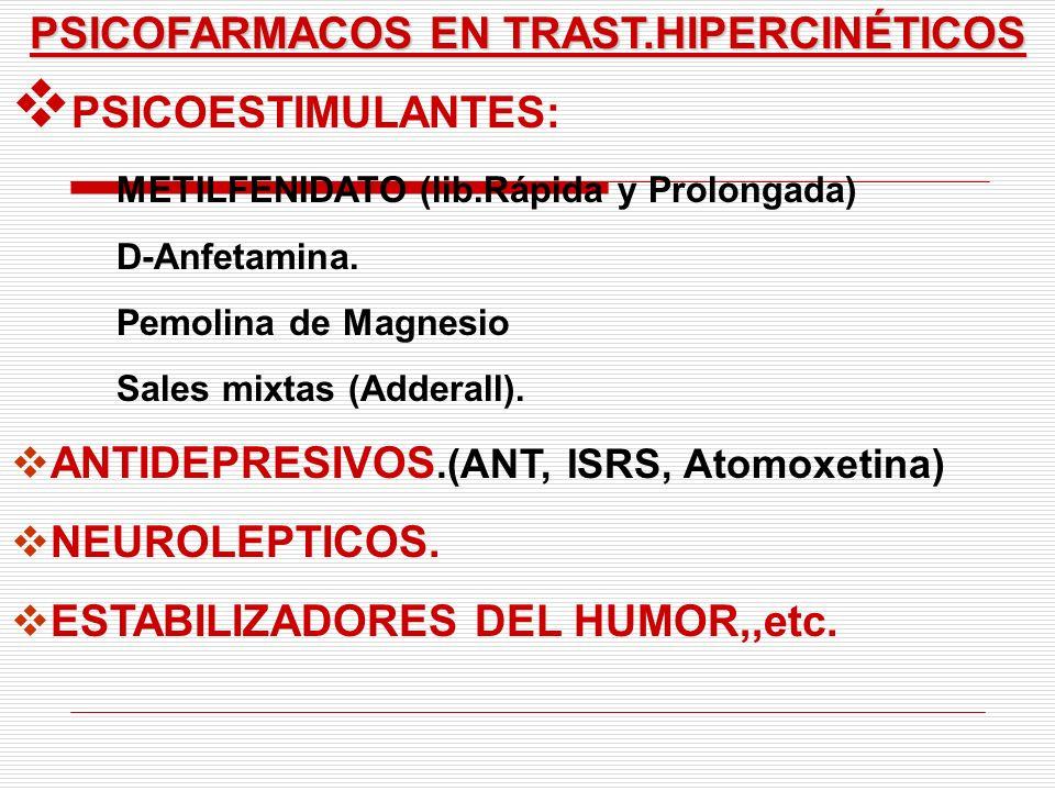 PSICOFARMACOS EN TRAST.HIPERCINÉTICOS PSICOESTIMULANTES: METILFENIDATO (lib.Rápida y Prolongada) D-Anfetamina. Pemolina de Magnesio Sales mixtas (Adde