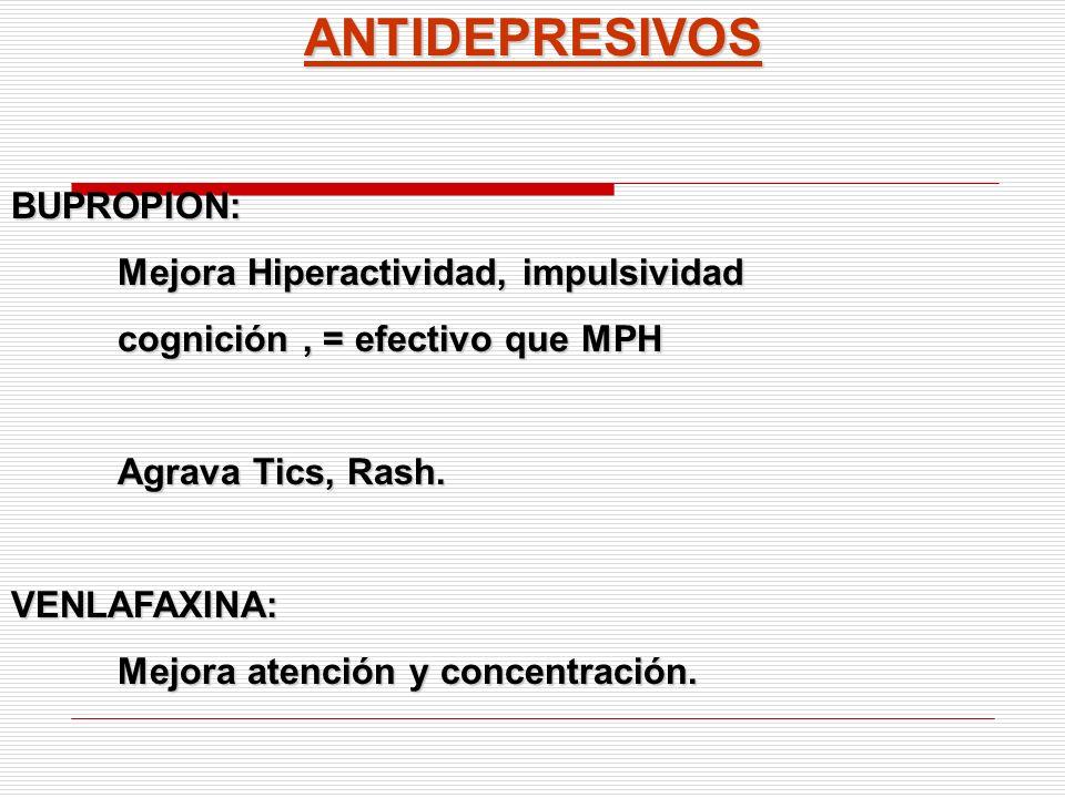 ANTIDEPRESIVOSBUPROPION: Mejora Hiperactividad, impulsividad cognición, = efectivo que MPH Agrava Tics, Rash. VENLAFAXINA: Mejora atención y concentra