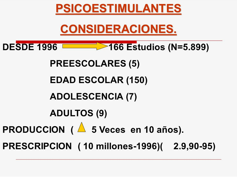 PSICOESTIMULANTESCONSIDERACIONES. DESDE 1996 166 Estudios (N=5.899) PREESCOLARES (5) EDAD ESCOLAR (150) ADOLESCENCIA (7) ADULTOS (9) PRODUCCION ( 5 Ve